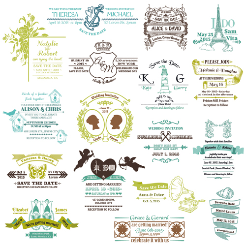 Set Of Wedding Logo Design Elements Vector 03 Vector
