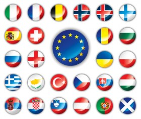 Set of World Flags Icons mix design vector 02