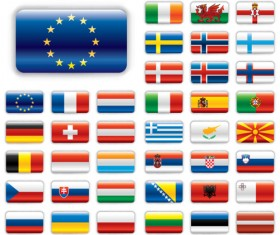 Set of World Flags Icons mix design vector 04