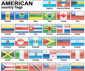 Set of World Flags Icons mix design vector 05