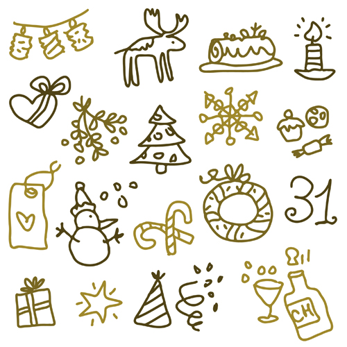 Cute Xmas icons mix vector graphics 04 free download