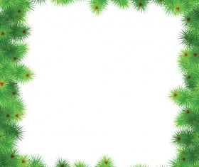 Set of Christmas needles frames vector material 01