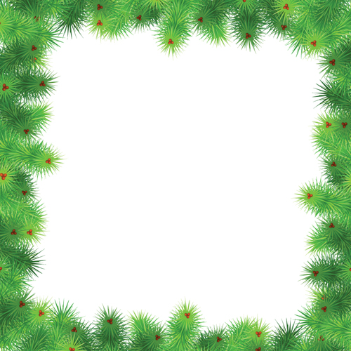 Set of Christmas needles frames vector material 01 free download