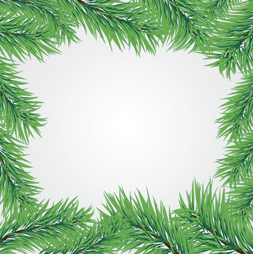 set of christmas needles frames vector material 04