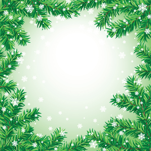 Set of Christmas needles frames vector material 05 - Vector ...