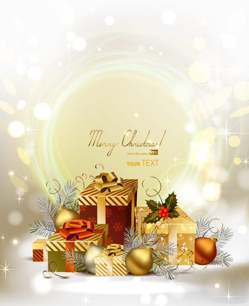 Set of Brilliant Xmas background vector art 02