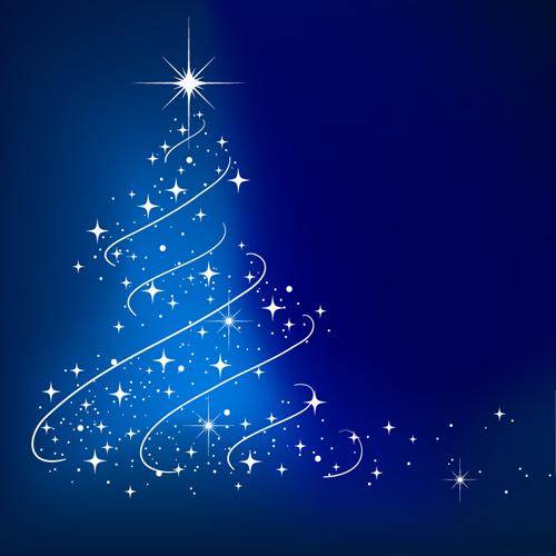 Blue Christmas Tree Wallpaper: Winter Blue Xmas Vector Backgrounds Art 04