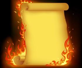 Set of Burning old paper design vector 01
