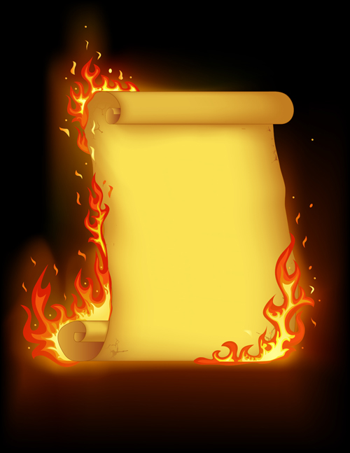 Set of Burning old paper design vector 01