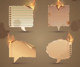 Set of Burning old paper design vector 02