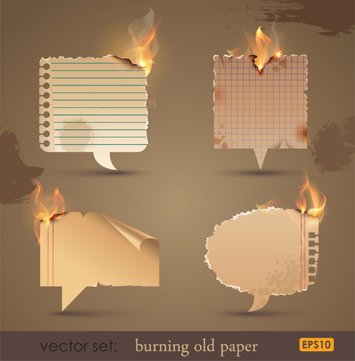 Set of Burning old paper design vector 02