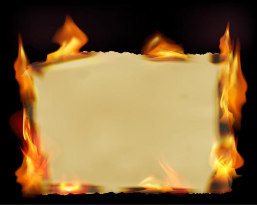 Set of Burning old paper design vector 04