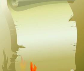 Set of Burning old paper design vector 05