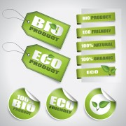 Link toGo green eco and bio labels with stickers vector 01