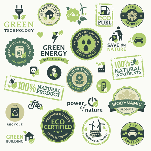 Go green eco and bio labels with stickers vector 03