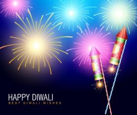 Colorful Festive fireworks design vector set 01