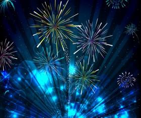 Colorful Festive fireworks design vector set 03