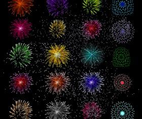 Colorful Festive fireworks design vector set 04