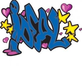 Funny graffiti alphabet design vector 14