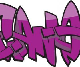 Funny graffiti alphabet design vector 16