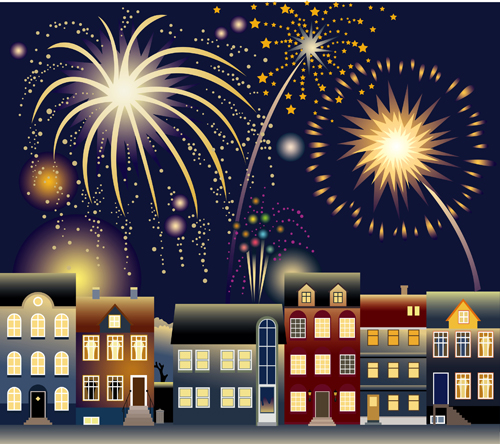 Set of holiday Fireworks design vector material 03