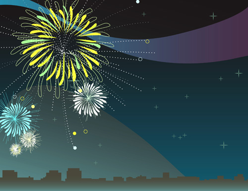 Set of holiday Fireworks design vector material 04