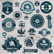 Link toMarine labels and decor vector collection 04