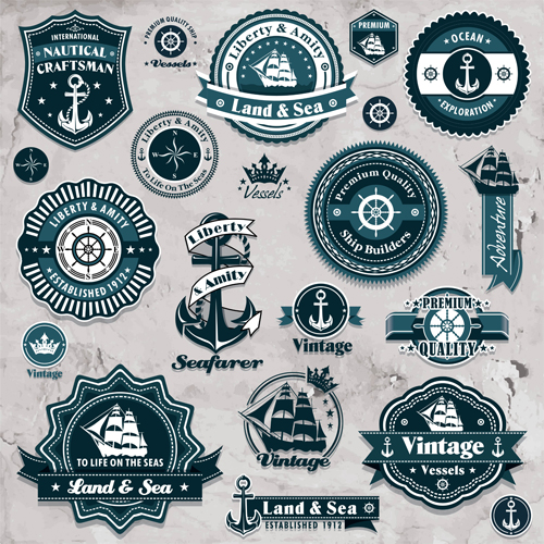Free eps file marine labels and decor vector collection 04 download