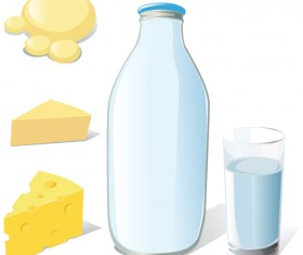 Set of Milk and cheese design vector graphics 01