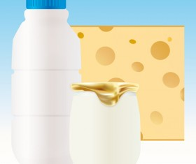 Set of Milk and cheese design vector graphics 03