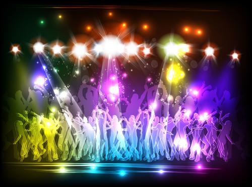 Set of Neon people elements vector graphics 01