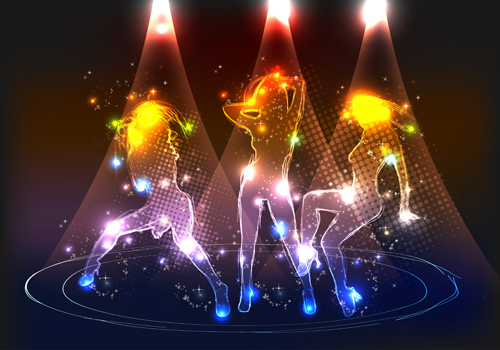 Set of Neon people elements vector graphics 03