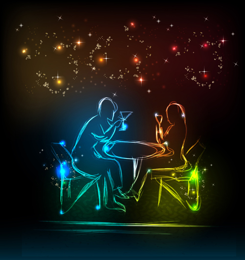 Set of Neon people elements vector graphics 05
