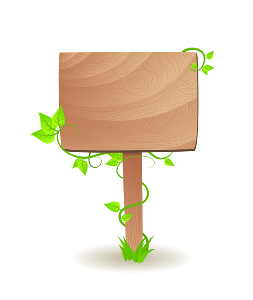 Set of Wooden signs and Indicator board vector graphics 02