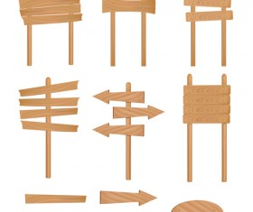 Set of Wooden signs and Indicator board vector graphics 04