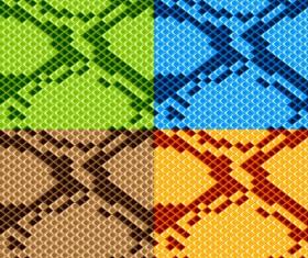 Vector set of Snake skin pattern elements 02