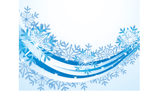 Set of snowflake with waves backgrounds art vector 03