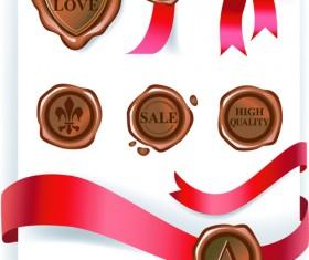 wax seals with love Postcard vector graphics 01
