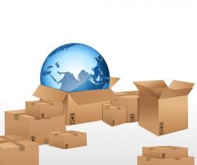 Set of World logistic design vector material 03