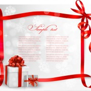 Link toRed ribbons with xmas card vector material 02