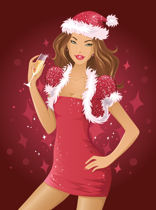 stylish christmas party girls design vector set 05