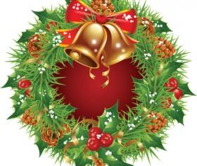 Pretty xmas wreath design vector material 01