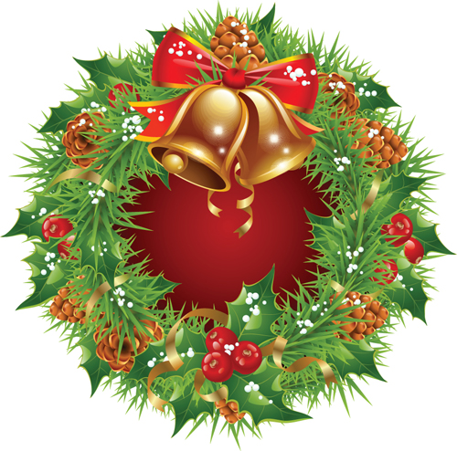 Pretty xmas wreath design vector material 01 free download