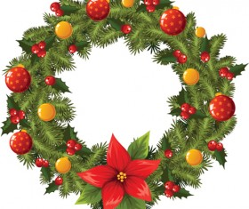 Pretty xmas wreath design vector material 04