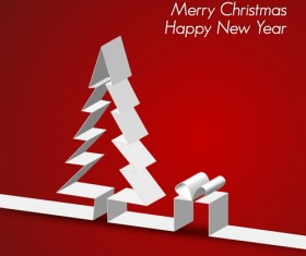 Set of Origami Xmas Greeting Cards design vector 03