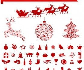Vector Set of different Xmas icons elements 01