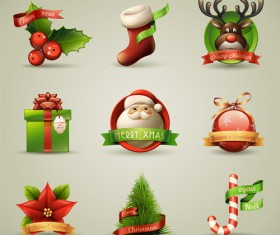 Vector Set of different Xmas icons elements 02