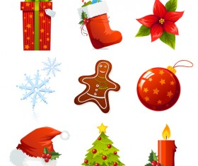 Vector Set of different Xmas icons elements 04
