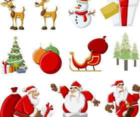 Vector Set of different Xmas icons elements 07