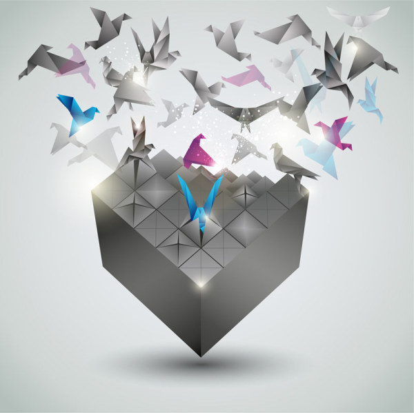 Paper Cranes fly vector backgrounds